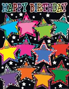 Rainbow Birthday Chart Display Cards