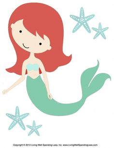 Print this large mermaid graphic to decorate for your next beach-themed birthday get-together.