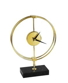 CHIC METAL TABLE CLOCK ON STAND, GOLD AND BLACK – Furnituria.com