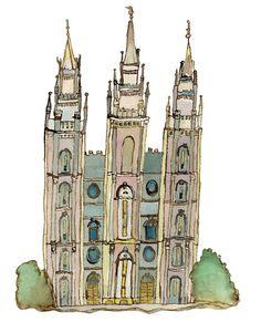 Salt Lake City temple watercolor