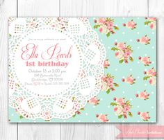 Shabby Chic Invitation. Vintage Pearls & Lace Invitation. DIY Printable Birthday, Baby Shower or Bridal Shower Invitation.. $10.00, via Etsy.