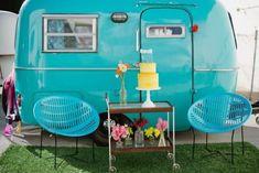 tiny turquoise vintage trailer