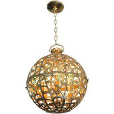 Large Pierced Filigree Brass Japanese Asian Ceiling Pendant Light 1