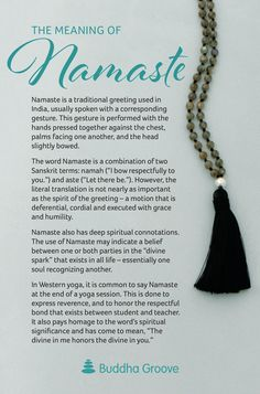 Mala Beads and Buddhist Japa Mala For Meditation & Yoga Practice The Meaning of Namaste Buddhist Meditation, Meditation Quotes, Daily Meditation, Chakra Meditation, Yoga Quotes, Mindfulness Meditation, Namaste Quotes, Reiki Quotes, Namaste Yoga