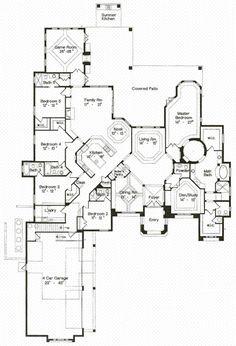 Love Love Love this home plan! First Floor Plan of Florida Mediterranean House Plan 64725 Dream House Plans, House Floor Plans, My Dream Home, 4000 Sq Ft House Plans, Building Plans, Building A House, The Plan, How To Plan, Plan Design