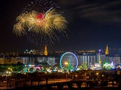 Fireworks at the end of the Feria de Abril in Seville, Spain