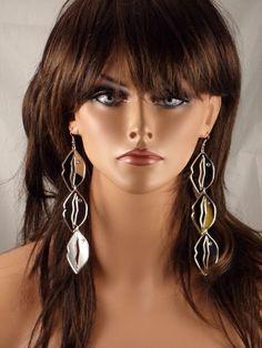 "5"" LONG DROP DANGLE TRIO OF LIPS VALENTINES SILVER MIRROR CRYSTAL STUD EARRINGS  #PRINCESSACCESSORIES #DropDangle"