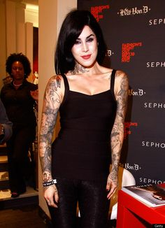Kat Von D, born Katherine Drachenberg, is another celebrity finding fame via reality show success and a highly publicized and criticized relationship. Famous Celebrities, Celebs, Mens Beard Grooming, Hot Inked Girls, Kat Von D Tattoos, Estilo Rock, Black Is Beautiful, Beautiful Females, Girl Tattoos