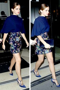 Emma Watson en route to the Dior after show diner, at Caviar Kaspia. Video of her and also Jennifer arriving.