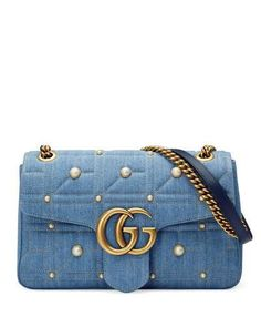 GUCCI GG MARMONT 2.0 MEDIUM QUILTED DENIM SHOULDER BAG WITH STUDS.  gucci   bags 133ffbedbe00a