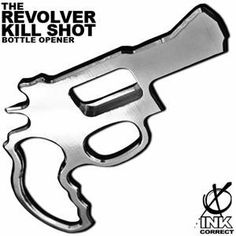 "Revolver Kill Shot by Ink Correct Bar Tools and Gear. $27.00. Bust a bottle cap with this kick ass design from Joe Callahan. Shaped like a revolver, this bottle opener is made of solid aluminum making it both durable and light weight. To open the bottle: simply hold it like you would hold a pistol, place the opener end on the bottle cap and turn sideways into the ""kill shot"" position to pop the cap. This opener is a great conversation piece, a very sexy tool, and the perfec..."
