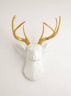 Faux Deer Head - The Alfred - White W/ Gold Antlers Resin Fake Deer Head- Stag Resin White Faux Taxidermy $89.99