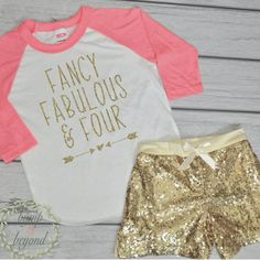 Fourth Birthday Outfit Girl 4 Year Old Birthday Shirt, Fancy Fabulous and Four, Girl Fourth Birthday Outfit