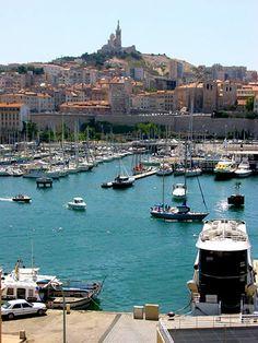 Le Vieux Port, looking toward the Basilica of Notre Dame de la Garde - Marseilles, France