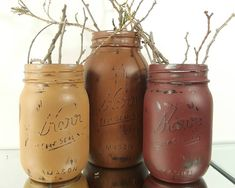 Brown mason jars make a terrific, natural addition to your home decor or party decor! They look great with tons of other colors and give a beautiful back-drop for the rest of your decorations. This great mason jar set contains 2 pint jars and 1 quart jar, all Kerr brand. These jars