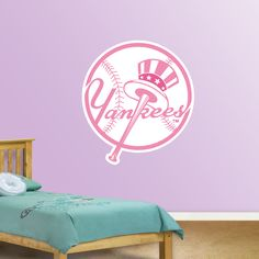 New York Yankees Pink Logo REAL.BIG. Fathead Wall Graphic | New York Yankees Wall Decal | Sports Home Decor | Baseball Bedroom/Man Cave/Nursery
