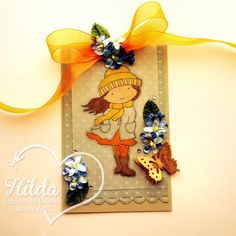 Hilda Designs: Reto #27: Combo Color y Vellum en LAC  girl in windy weather de Handmade Harbour