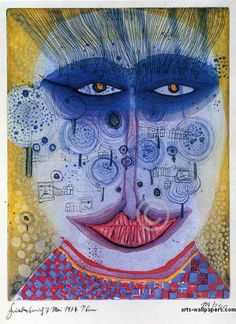 Meadowman by Hundertwasser, 1974. Aquatint, etching. An Austrian painter and architect (1928–2000, he died at sea aboard the Queen Elizabeth II)