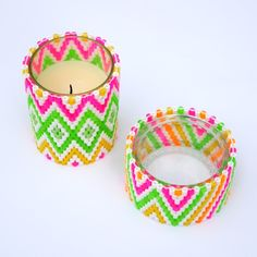 diy candle holders | Diy Candle Holders Of Colorful Beads | Shelterness