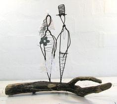 Wire Sculpture Wedding Gift. Metal and Driftwood Mixed Media Art. Folk Art Series. Rustic Wedding Decor.. $98.00, via Etsy.