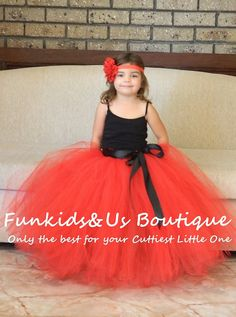 Red Flower girl long Tutu Skirt with by FunkidsandUsBoutique