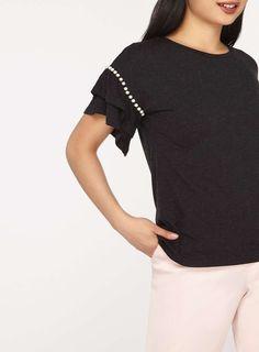 Womens Petite Pearl Flute Sleeve T-Shirt- Grey