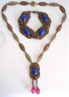 CZECHOSLOVAKIA Art Deco Vintage Lapis Blue Glass Cabochon Necklace Bracelet Set