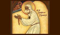 "Saint Seraphim of Sarov by Gregory Kroug - SFH adds, ""Come along my joys, Christ is Risen. Religious Images, Religious Icons, Religious Art, Christ Is Risen, Jesus Christ, Catholic Saints, Orthodox Icons, Sacred Art, Santos"