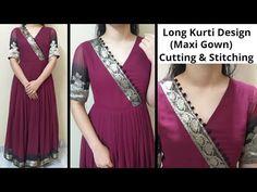 आप भी बना सकतें है पुरानी साडी से खूबसूरत Long Kurti Design / Saree into Gown / V Neck Design / DIY - YouTube Long Dress Design, Dress Neck Designs, Stylish Dress Designs, Designs For Dresses, New Kurti Designs, Kurta Designs Women, Kurti Designs Party Wear, Recycled Dress, Stitching Dresses