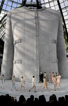 Only Lagerfeld comes up with these magnificent runway sculptures. Chanel has survived well because of him!    website @Nina Garcia