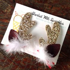 Gold Glitter Reindeer Antlers, Christmas Hair Clips, Felt Reindeer Antlers, Clip On Antlers, Holiday Hair Accessories, Gold Antlers by sherbetwithsprinkles on Etsy https://www.etsy.com/listing/62330885/gold-glitter-reindeer-antlers-christmas