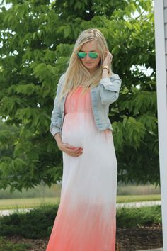 STRIPES IN BLOOM | Maven Coral Maternity Maxi Dress from Heritwine Maternity