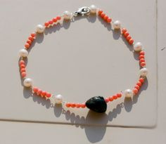 stones choker, with big vintage turquoise stone, salmon pink coral and freshwater pearls, boho tribal choker by MICETTESGARDEN on Etsy