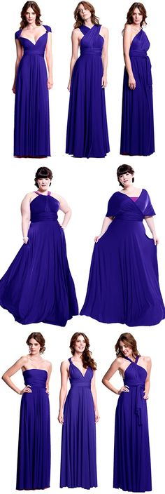 The bride can pick a color and let her bridesmaids pick their style. The perfect bridesmaid dress that you can actually wear again! http://www.henkaa.com/shop/convertible-dresses/long-dress/sakura-convertible-dress-long-royal-blue.html