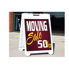 """Sandwich Board A-Frame Signs, Make sure the signs get noticed by adding full color. For promoting all businesses from yards to cars. Many stock choices available for your customer's needs. Use indoors or outdoors Plastic A-Frame display includes two 28"""" x 22"""" sign inserts (same printing both sides) Printed with full color UV ink on white corrugated plastic Estimated outside wear for sign of 6-9 months, estimated indoor wear of 3 years Replacement corrugated signs available (sold separately)"""
