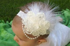White Baby Girls Stretchy Lace Headband with by WillowFayesCloset, $14.00