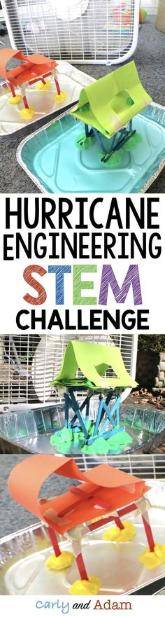 Hurricane STEM Challenge Weather Activity This hurricane STEM activity is the perfect activity for learning about hurricanes and hurricane safety. Students construct a building that can withstand a hurricane simulation. Stem Science, Science Fair, Science Lessons, Science For Kids, Earth Science, Physical Science, Science And Nature, Steam Activities, Science Activities
