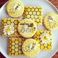 Bee Cookies, Galletas Cookies, Sugar Cookies, Cookies Et Biscuits, Cookies Kids, Bee Party, Baby Shower Cookies, Bee Theme, Cookie Designs
