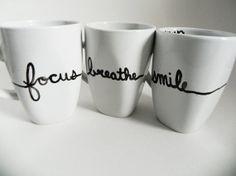 SHIPPING DELAY be well - set of three mugs - motivational / inspirational // hand-drawn / written