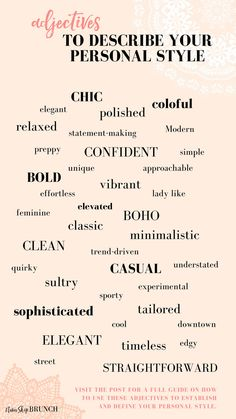 How to find your personal style 10 questions for you to ask yourself adjectives to use to define your style my favorite style quotes Fashion Words, Fashion Quotes, Fashion Designer Quotes, Mode Outfits, Fashion Outfits, Fashion Trends, Fashion 2017, Stil Inspiration, Fashion Vocabulary