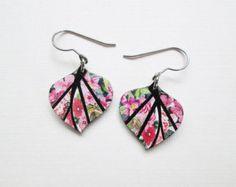Paper Mosaic Earrings - Small Leaf Earrings - Upcycled Earrings - Recycled Earrings - Pink Floral