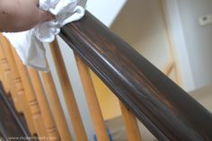 How to Paint / Stain Wood Stair Railings (Oak Banisters & Spindles) WITHOUT SANDING! Painted Stair Railings, Wood Railings For Stairs, Stair Banister, Painted Stairs, Banisters, Diy Stair, Black Stair Railing, Banister Ideas, Interior Railings