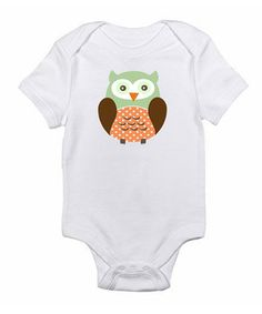 Look what I found on #zulily! White & Green Owl Bodysuit - Infant by Love you a Latte #zulilyfinds