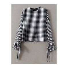 Buttoned Checked Blouse (26 CAD) ❤ liked on Polyvore featuring tops, blouses, button blouse, checkered blouse, checked blouse, button top and checkered top