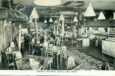 Royal Oak Mich.  Hedge's Wigwam Interior   postcard on  eBay. At the southeast corner of 10 Mile and Woodward Ave, this was really in Pleasant Ridge, MI. It was a cafeteria-style restaurant with wonderful food. The table tops were covered with birch bark and had moss under glass tops. I'll never forget their mac'n'cheese.