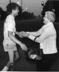 terry fox, Canadian hero…greeted by his Mom.