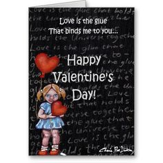 Love is the Glue Girl — Happy Valentine's Day Greeting Card Happy Valentines Day Card, Valentine's Day Greeting Cards, Personalized Gifts, Create Your Own, Holiday, Marriage, Vacations, Personalised Gifts, Holidays