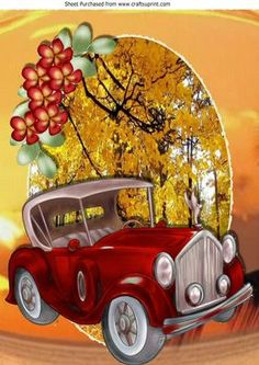 Red Vintage car in autumn shades with flowers A4 on Craftsuprint - Add To Basket!