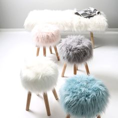 Add some Scandi style to your home with the Whistler Stool! The soft faux fur top and wooden legs are an on-trend look you're going to love this winter and with four pastel colours to choose from, the only decision left is which one will you choose? Fluffy Cushions, Fluffy Bedding, Dream Bedroom, Girls Bedroom, Bedroom Decor, Fluffy Stool, Diy Stool, Fire Pit Table And Chairs, Hanging Chair From Ceiling