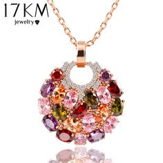 Cheap necklace background, Buy Quality necklace deer directly from China necklace ornament Suppliers: Trendy Alloy Link Chain Colorful Round Crystal Pendant Necklace Fashion Design Flower Jewelry Zircon Necklaces For Women Love Necklace, Necklace Types, Collar Necklace, Fashion Necklace, Crystal Pendant, Crystal Necklace, Pendant Necklace, Round Pendant, Flower Pendant